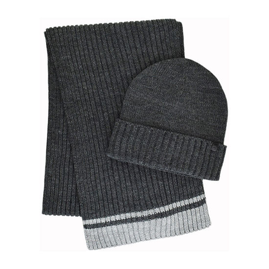 Collection By Michael Strahan Striped Knit Beanie & Scarf Set