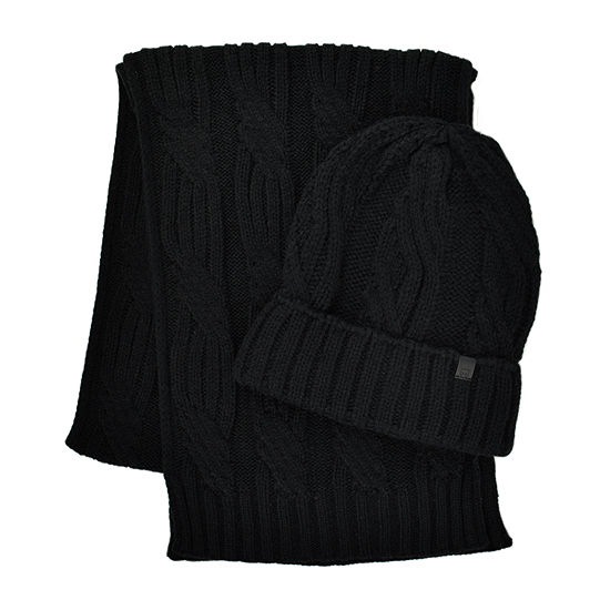 Collection By Michael Strahan Cable Knit Beanie & Scarf Set