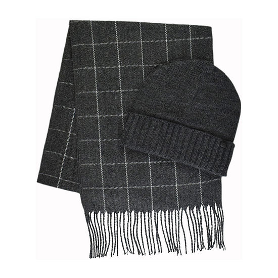 Collection By Michael Strahan Checked Fringe Beanie & Scarf Set