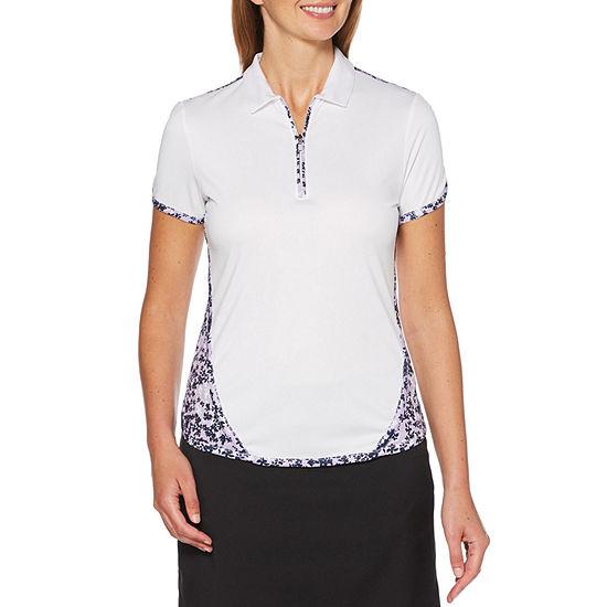 PGA TOUR-Womens Collar Neck Short Sleeve T-Shirt