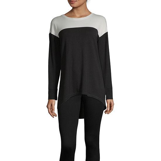 Liz Claiborne Weekend-Womens Round Neck Long Sleeve T-Shirt