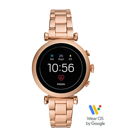 Fossil Smartwatches Gen 4 Womens Rose Goldtone Stainless Steel Smart Watch-Ftw6040