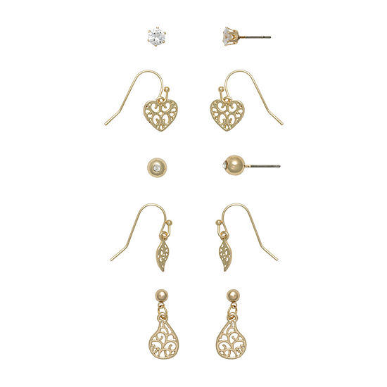 Mixit Hypoallergenic 5 Pair Heart Earring Set