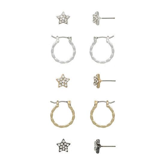 Mixit 5 Pair Star Earring Set
