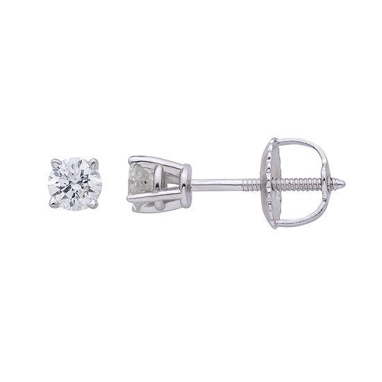Premier Collection 1/4 CT. T.W. Genuine Diamond Stud Earrings 14K White Gold