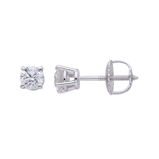 Premier Collection 1/2 CT. T.W. Round Genuine Diamond Stud Earrings
