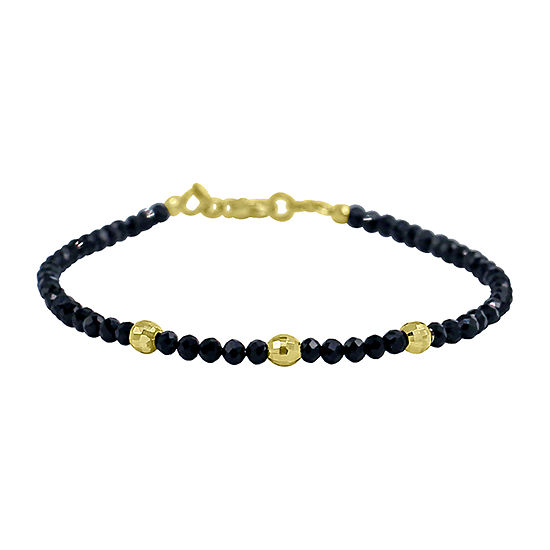 Genuine Black Spinel 14K Gold Beaded Bracelet
