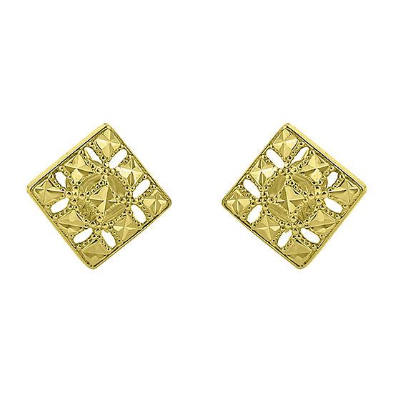 14K Gold 10mm Diamond Stud Earrings