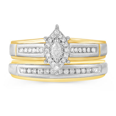 Womens 1/4 CT. T.W. Genuine Diamond 10K Gold Ring Sets