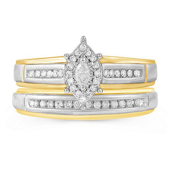 Womens 1/4 CT. T.W. Genuine Diamond 10K Gold Ring Sets