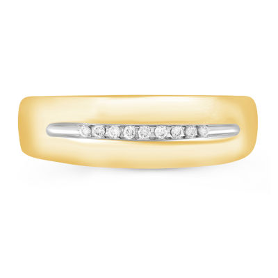 Mens 1/8 CT. T.W. Genuine Diamond 10K Gold Band
