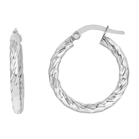Made in Italy 14K White Gold 20mm Round Hoop Earrings