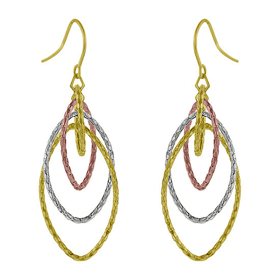 Made in Italy 14K Tri-Color Gold Diamond Drop Earrings