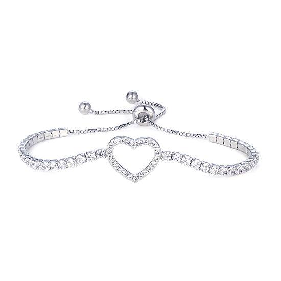 DiamonArt® 1 3/4 CT. T.W. White Cubic Zirconia Sterling Silver Heart Bolo Bracelet