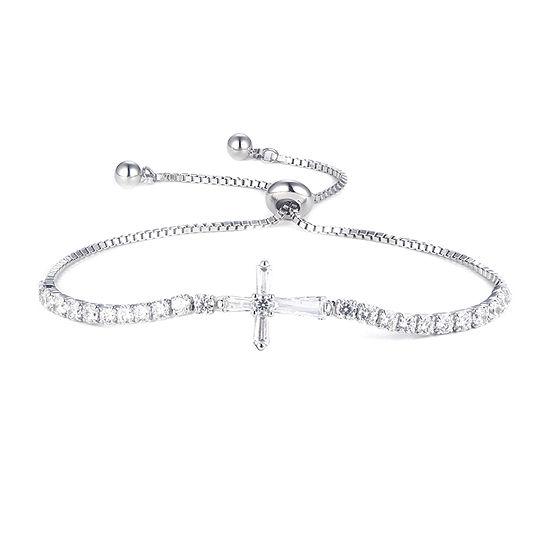 Diamonart 1 1/2 CT. T.W. White Cubic Zirconia Sterling Silver Cross Bolo Bracelet