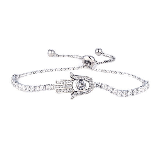Diamonart 2 CT. T.W. White Cubic Zirconia Sterling Silver Bolo Bracelet