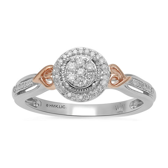 Womens 1/7 CT. T.W. Genuine Diamond 14K Rose Gold Over Silver Cocktail Ring
