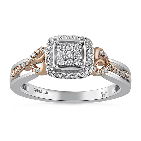 Womens 1/5 CT. T.W. Genuine Diamond 14K Rose Gold Over Silver Cocktail Ring