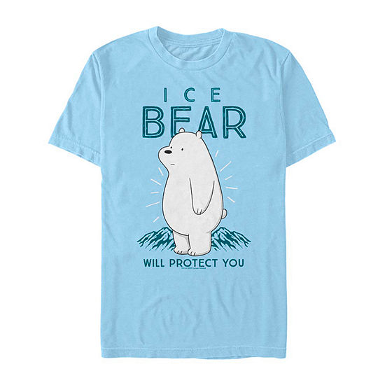 Slim We Bare Bears Ice Bear Will Protect You Mens Crew Neck Short Sleeve Graphic T-Shirt
