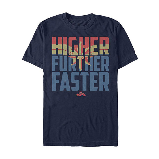 Higher Further Faster Mens Crew Neck Short Sleeve Graphic T-Shirt-Slim