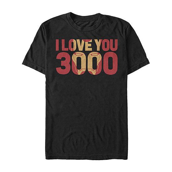 Slim Iron Man I Love You 3000 Mens Crew Neck Short Sleeve Marvel Graphic T-Shirt