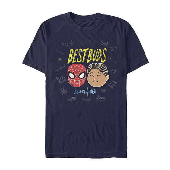 Slim Spidey And Ned Best Buds Mens Crew Neck Short Sleeve Spiderman Graphic T-Shirt