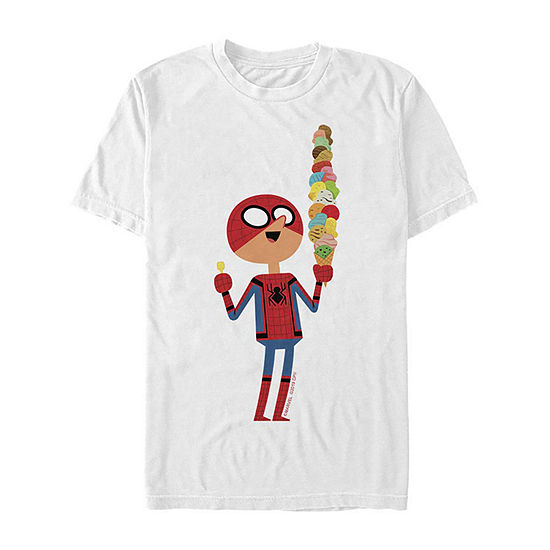 Slim Far From Home Ice Cream Cartoon Mens Crew Neck Short Sleeve Spiderman Graphic T-Shirt