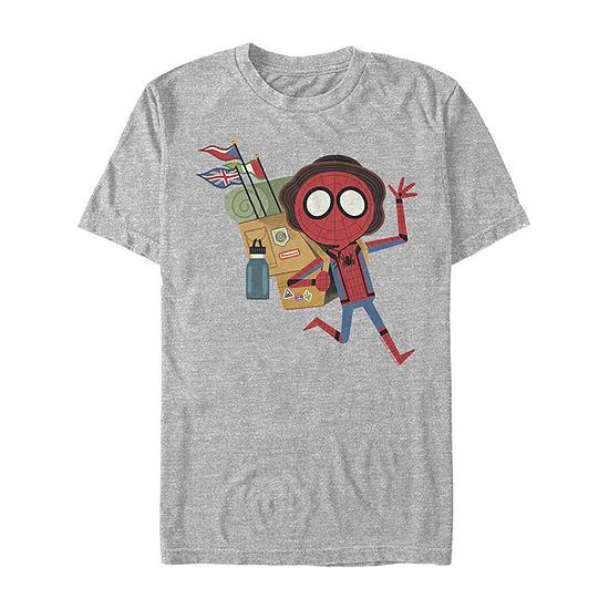Far From Home Backpack Traveler Mens Crew Neck Short Sleeve Marvel Graphic T-Shirt