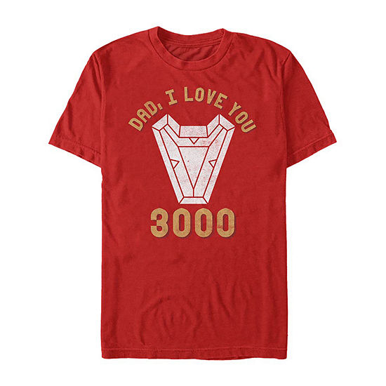 Dad I Love You 3000 Mens Crew Neck Short Sleeve Iron Man Graphic T-Shirt