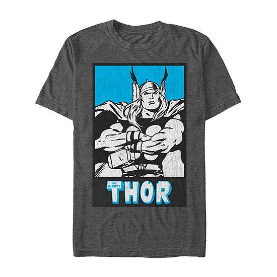 Comic Thor Poster Mens Crew Neck Short Sleeve Marvel Graphic T-Shirt