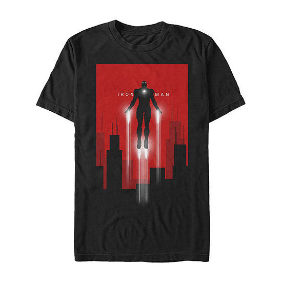 Slim Iron Man Blast Off Mens Crew Neck Short Sleeve Marvel Graphic T-Shirt
