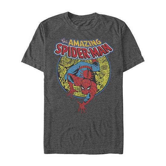 Slim The Amazing Spider-Man Comic Mens Crew Neck Short Sleeve Marvel Graphic T-Shirt