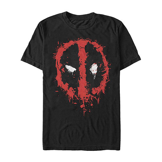 Slim Deadpool Paint Splatter Mask Mens Crew Neck Short Sleeve Marvel Graphic T-Shirt