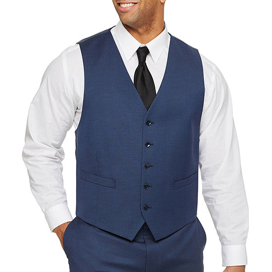 Shaquille O'Neal XLG - Big and Tall Blue Solid Stretch Suit Vest