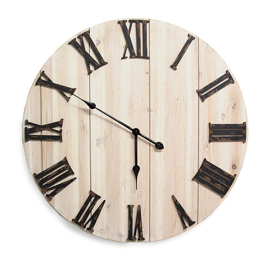 Stratton Home Decor Distressed Wood Wall Clock