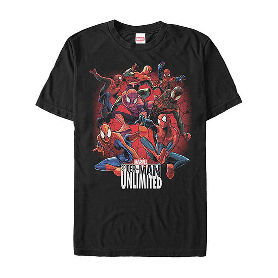 Unlimited Spider Poses Mens Crew Neck Short Sleeve Marvel Graphic T-Shirt