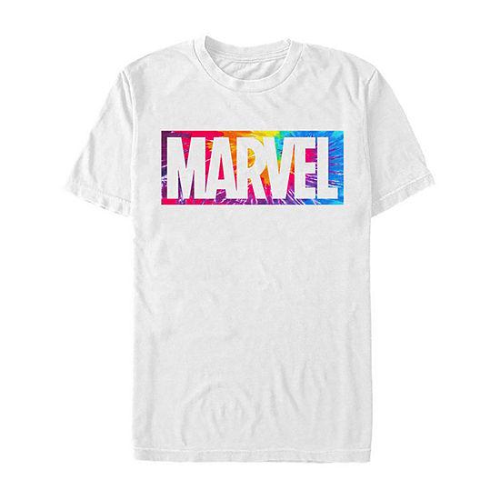 Slim Rainbow Tie Dye Logo Mens Crew Neck Short Sleeve Marvel Graphic T-Shirt