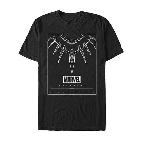 Slim Black Panther Necklace Mens Crew Neck Short Sleeve Marvel Graphic T-Shirt