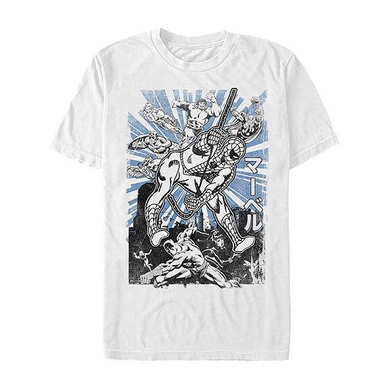 Avengers Kanji Action Pose Mens Crew Neck Short Sleeve Avengers Graphic T-Shirt