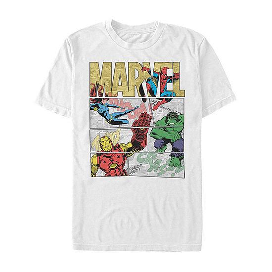 Slim Comic Hero Panels Mens Crew Neck Short Sleeve Marvel Graphic T-Shirt