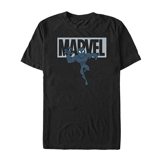 Slim Black Panther Cartoon Logo Mens Crew Neck Short Sleeve Marvel Graphic T-Shirt