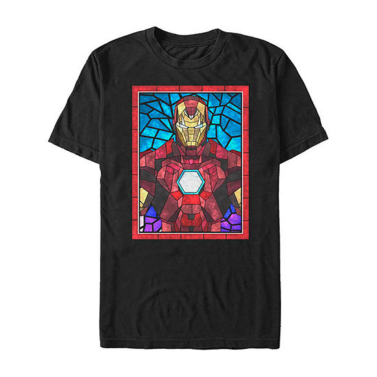 Slim Iron Man Mosaic Stained Glass Mens Crew Neck Short Sleeve Graphic T-Shirt