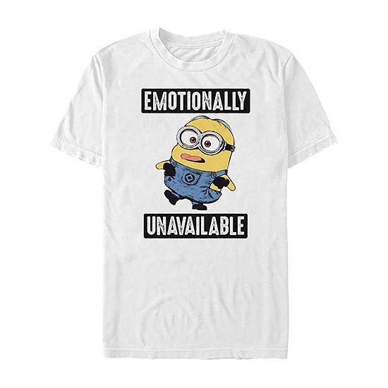 Slim Emotionally Unavailable Mens Crew Neck Short Sleeve Minons Graphic T-Shirt