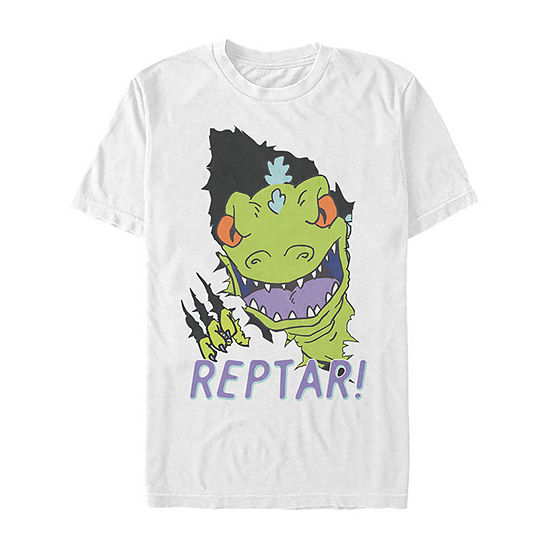 Rugrats Reptar Ripping Through Mens Crew Neck Short Sleeve Graphic T-Shirt