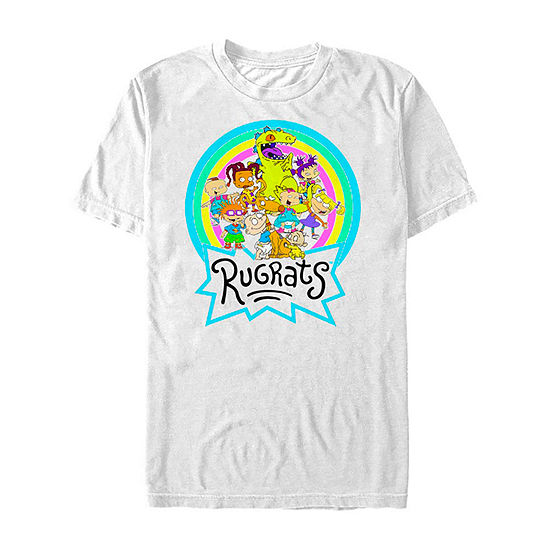 Slim Rugrats Rainbow Group Mens Crew Neck Short Sleeve Graphic T-Shirt