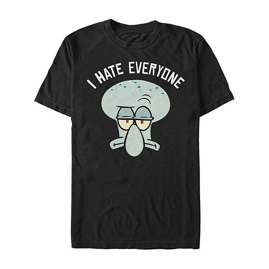 Squidward I Hate Everyone Mens Crew Neck Short Sleeve Spongebob Graphic T-Shirt