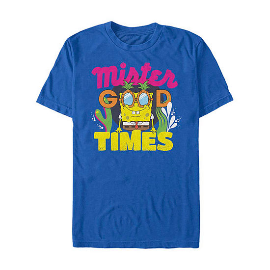 Slim Mister Good Times Mens Crew Neck Short Sleeve Spongebob Graphic T-Shirt