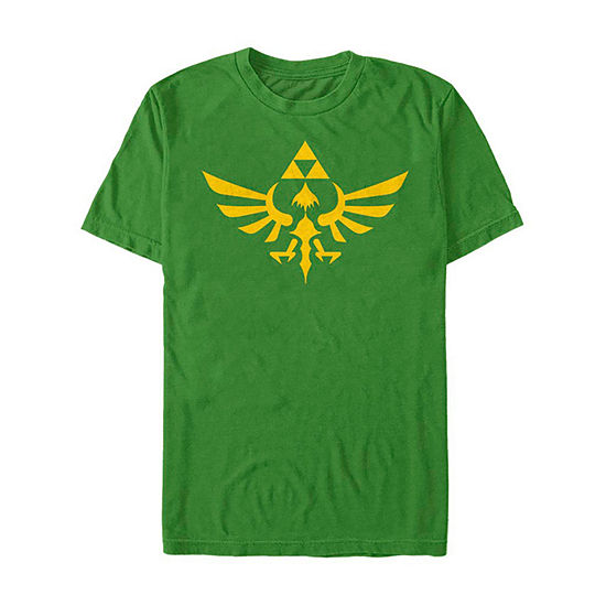 Slim Triforce Hyrule Crest Logo Mens Crew Neck Short Sleeve Zelda Graphic T-Shirt