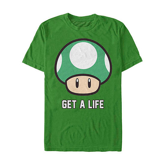 1-Up Mushroom Get A Life Mens Crew Neck Short Sleeve Super Mario Graphic T-Shirt