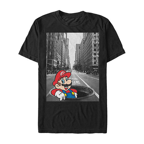 Slim Mario Pothole Poster Mens Crew Neck Short Sleeve Super Mario Graphic T-Shirt